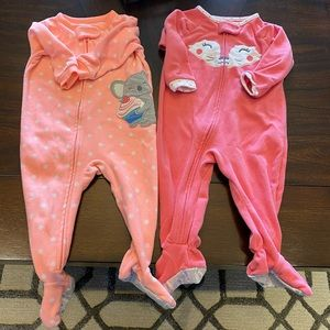 Lot of 2 Infant Girl Pajamas